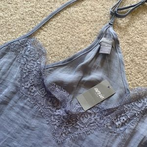 lace accented blue/gray aerie nightgown w/ tags